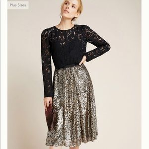 NWT Anthropologie Orleans Sequined Midi Skirt